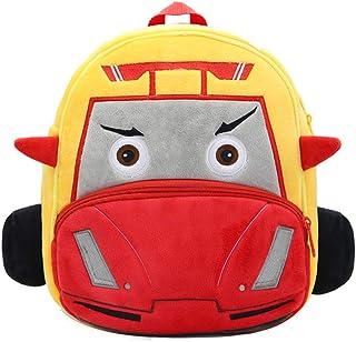 """Toddler Backpack for Boys Girls, 10"""" Car Preschool Bag Plush Cartoon Bookbag for Little Boys Girls Kids"""