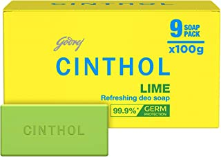 Cinthol Lime Bath Soap 99.9% Germ Protection, 100g (Pack of 9)