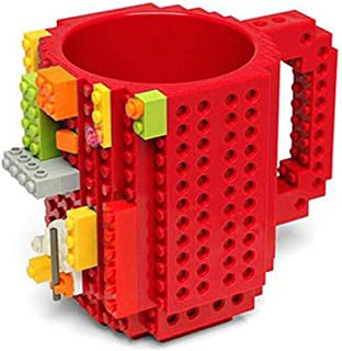 Mug Drink Cup Drinkware Building Blocks Block Puzzle Cup Build-On Brick Cups Lego Mugs Type Coffee Cup Office Gift (Red)