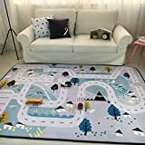 Play Mat for Baby Grey Area Rug Foam Play Mat Living Room Floor Mats Baby Crawling Mats Climbing Pad Nursery Rug Carpet, Village, 59 by 79 Inches