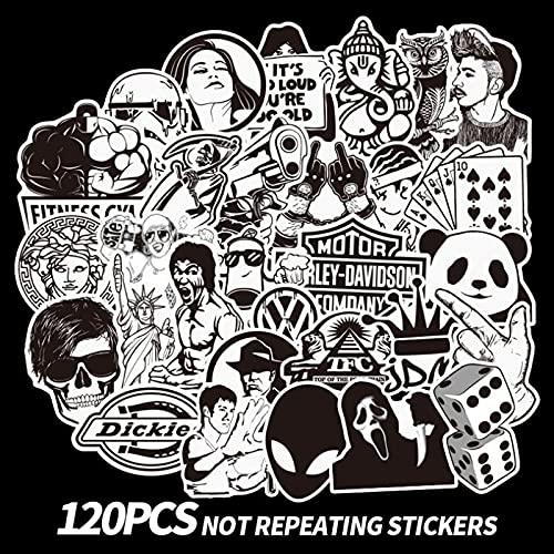 TTKLXJR 120 unids Pegatinas punzadas de Graffiti Blancas y Negras para Scrapbooking Portátil de Guitarra Maleta de monopatín Fresco cómico calcomanía Pegatina Juguetes (Color : 1)