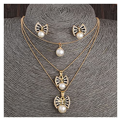 DSJTCH Joyas de Mariposa Conjuntos de Boda Nupcial simulado Perla Cristal Collar Multicapa Collar Conjuntos de Pendientes para Mujeres (Size : One Size)