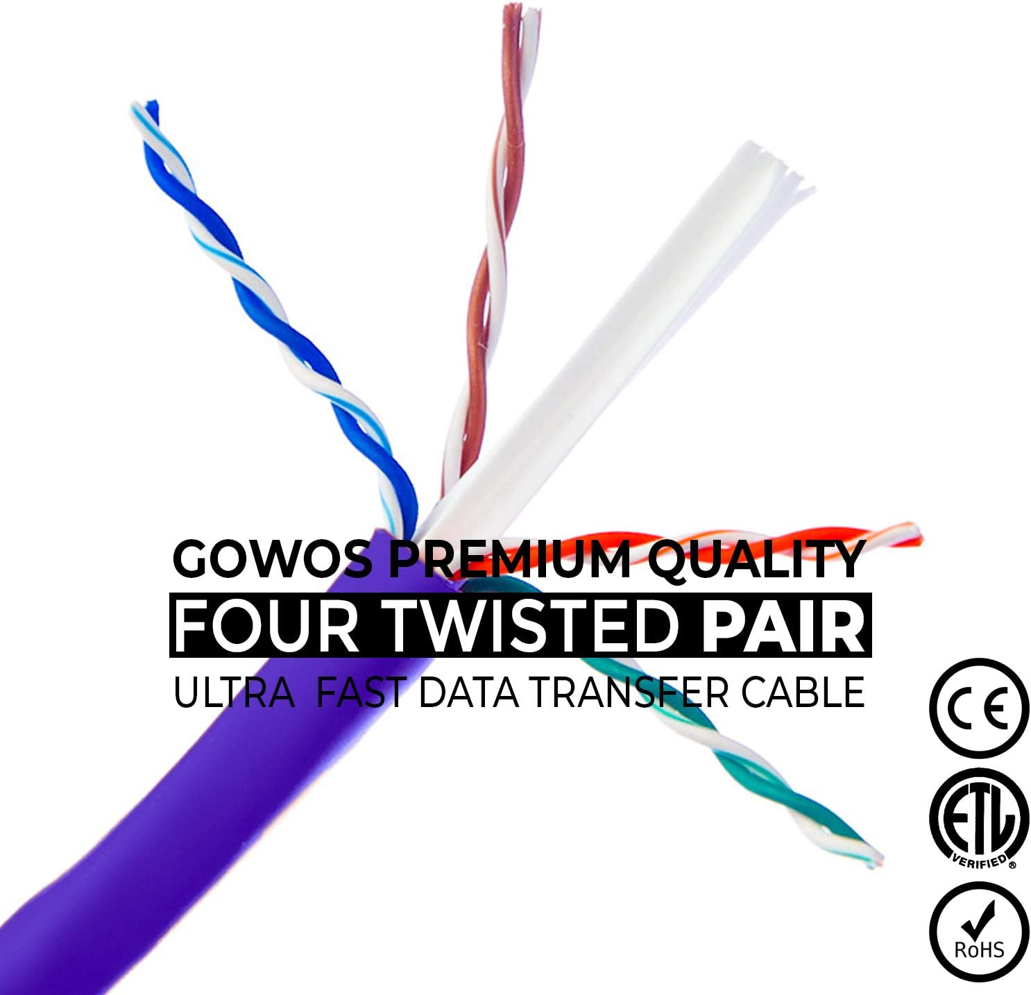 24AWG Network Cable with Gold Plated RJ45 Snagless//Molded//Booted Connector 1Gigabit//Sec High Speed LAN Internet//Patch Cable Red 10-Pack - 1 Feet 350MHz GOWOS Cat5e Ethernet Cable