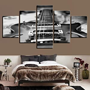 SLFWCLH 5 canvas paintings HD Prints Home Decor Living Room Canvas Pictures 5 Pieces Guitar Paintings Wall Art Vintage Black White Music Posters