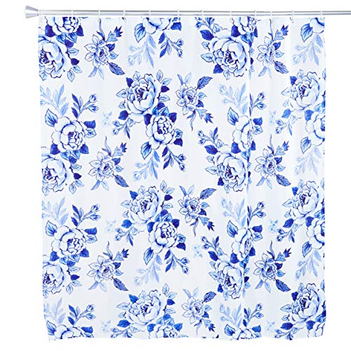 Okuna Outpost Shabby Chic Shower Curtain with 12 Hooks, Blue Floral Bath Decor (71 x 71.25 in)