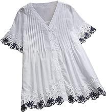 YKARITIANNA Women Plus Size Vintage Short Sleeve V-Neck Lace Button Top T-Shirt Blouse