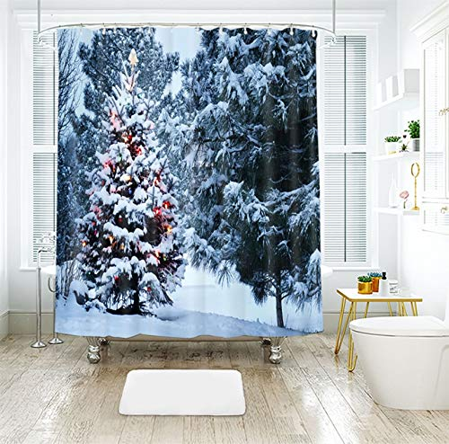 Aokarry Christmas Fabric Shower Curtain, Polyester Fabric Snowfield Christmas Tree with Colored Lights Shower Curtain for Bathroom Blue White, Thin 180 x 180 cm