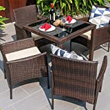 M&W 5 Piece Patio Dining Set, Wicker Outdoor Chairs and Glass Table...
