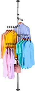 BAOYOUNI 4-Tier Standing Clothes Laundry Drying Rack Coat Hanger Organizer Floor to Ceiling Adjustable Metal Corner Tension Pole, Grey