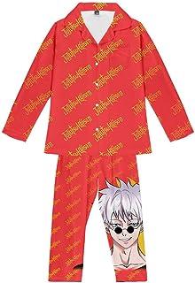 Pajama Set Teenagers Anime Jujutsu Kaisen Loungewear Unisex Pjs Two Piece Soft Sleepwear Youth Long Sleeve Button Nightwear