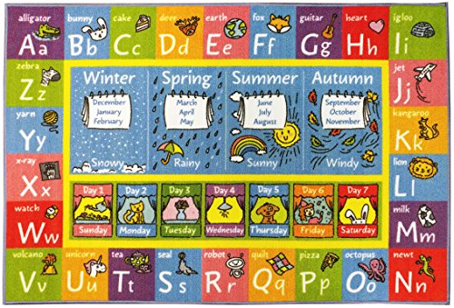 """KC CUBS Playtime Collection ABC Alphabet, Seasons, Months and Days of the Week Educational Learning Area Rug Carpet For Kids and Children Bedrooms and Playroom (3' 3"""" x 4' 7"""")"""