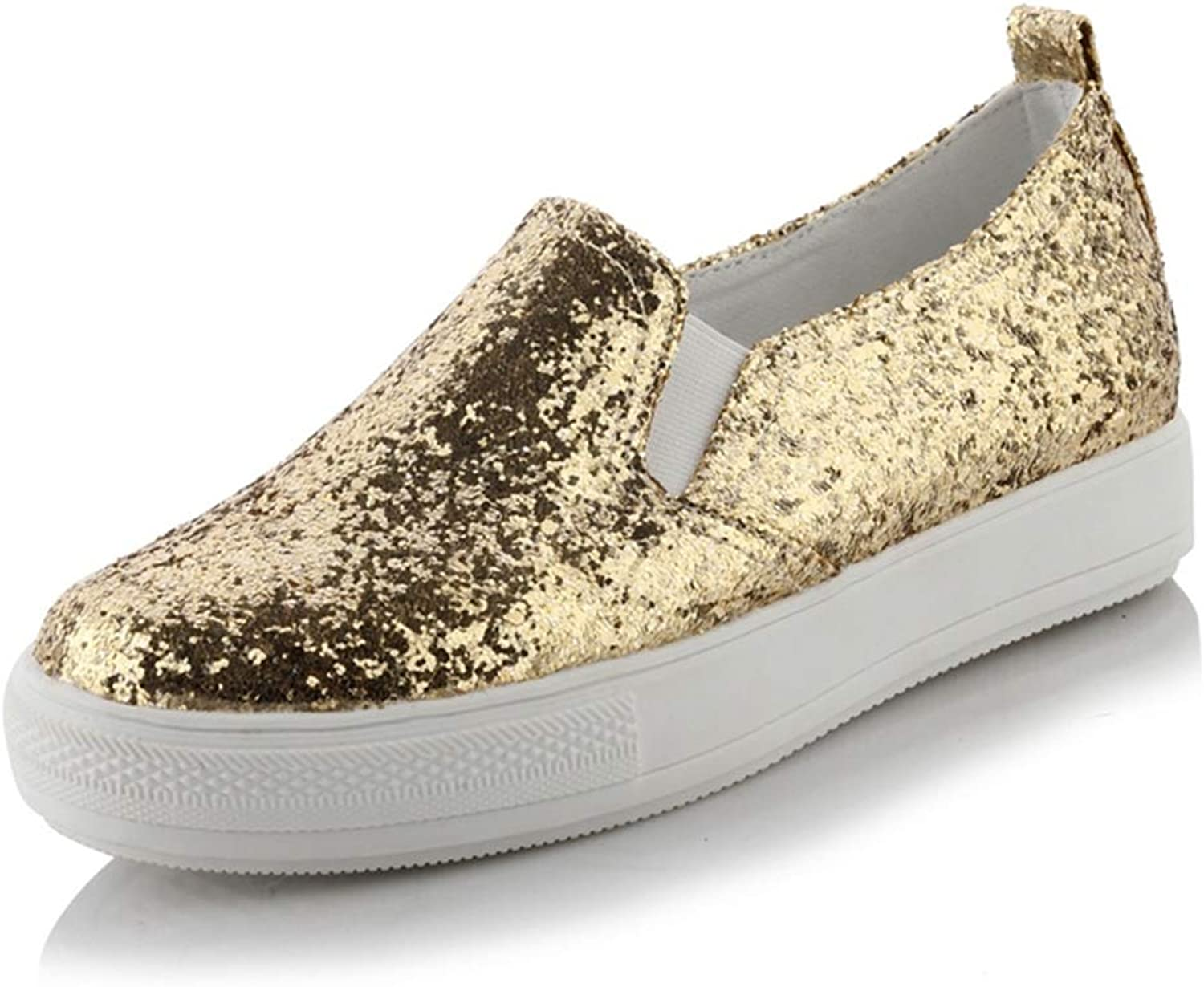 Btrada Women Wedge Heel Sneakers Sequin Bling Glitter Female Platform Casual shoes Slip on Fashion shoes