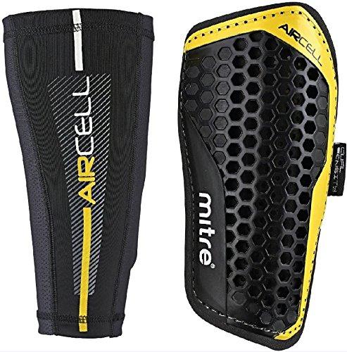 Mitre Aircell Pro Slip mit Kompressionsmanschette Fußballschienbeinschoner, Black/Yellow, S