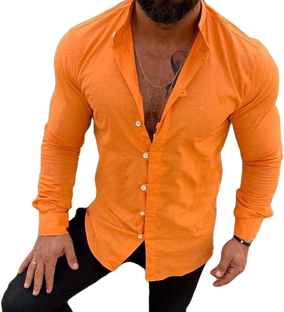 Men's Linen Button Down Long Sleeve Dress Shirts Casual Fitted Shirts Beach Yoga Top