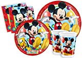 Ciao y2495 – Kit Party Fiesta de tabla Mickey Mouse Club House Para 24 Personas (112 piezas color 24 platos grandes, 24 platos Medi, 24 vasos, 40 servilletas)