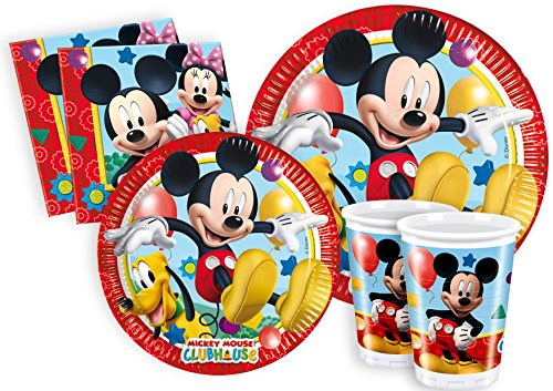 mickey mouse clubhouse Ciao- Kit Party Tavola Disney Mickey Mouse Club House per 24 Persone (112 pezzi: 24 piatti carta Ø23cm