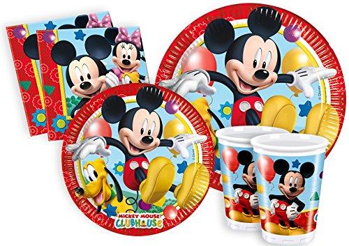Ciao y2495–Kit Party Party in-Mickey Mouse Club House für 24Personen (112Stück: 24große Teller, 24Teller Medi, 24Gläser, 40Servietten)