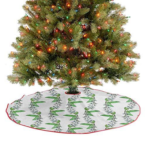 Homesonne Falda de árbol con flores románticas de primavera de pájaro, cerezo con hierbas verdes remolinadas, ideal para fiestas de Navidad, color azul y verde, 91,4 cm