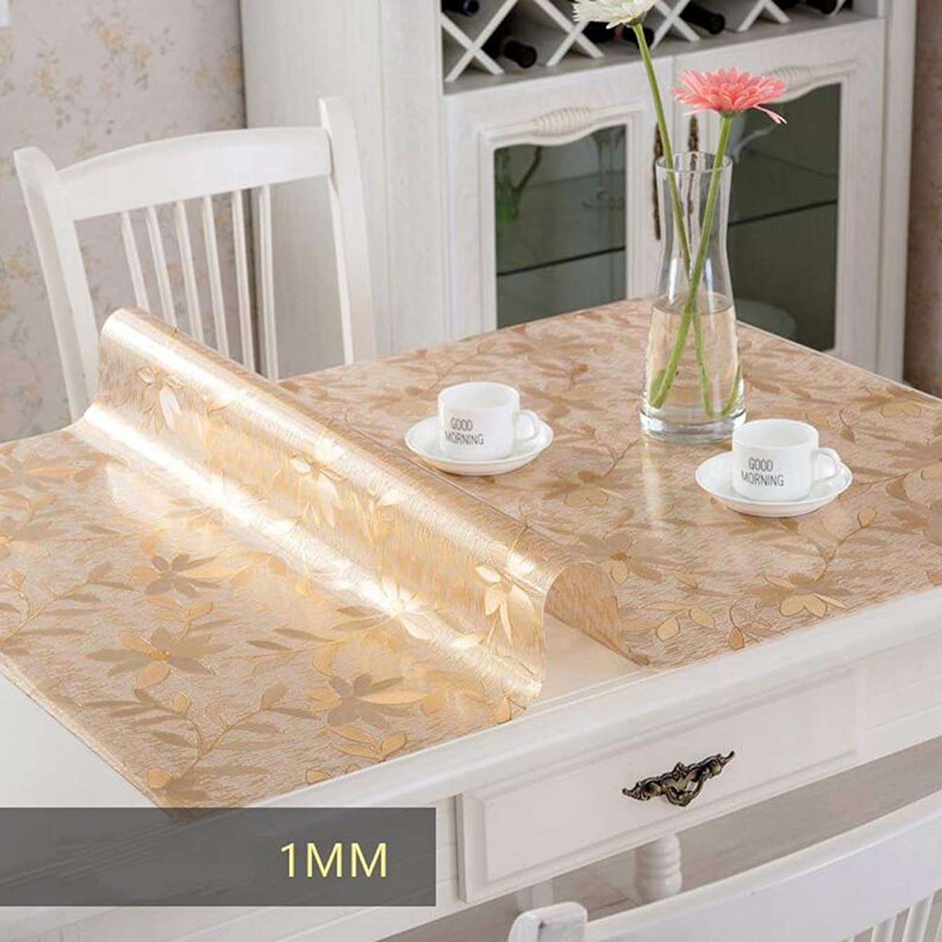 ZHAS Tablecloths Thicken Tablecloth Soft Glass PVC Waterproof Anti-scalding Oil-Proof Transparent Scrub Plastic Crystal Plate (Color : Chrysanthemum, Size : 80x140cm)
