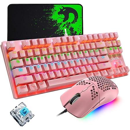 Teclado mecánico para juegos, mouse de juego con cable ultraligero programable 12000DPI, juego de almohadillas para ratones, teclado rosa con cable 87 ...