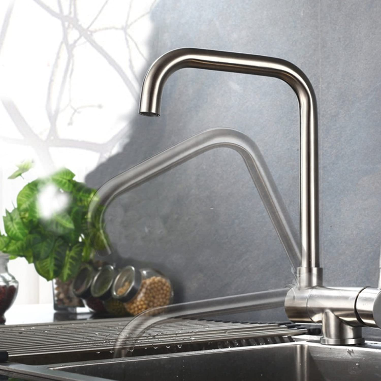 GJE Stainless Steel Hot And Cold Water Faucet Kitchen Sink Pull Water Faucet (color   3)