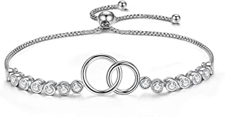 GDDX Mother Daughter Bracelet, Sister Bracelet - Sterling Silver Two Interlocking Infinity Double Circles, Birthday Gift for Mom Daughter
