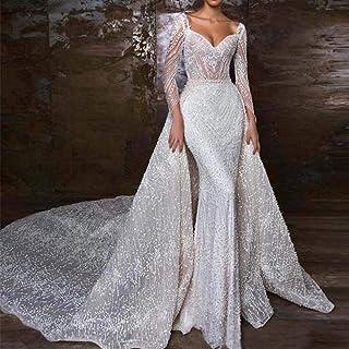 Abiti da sposa Abiti da sposa sirena dell'innamorato Abito da sposa sexy perline maniche lunghe abiti di cerimonia nuziale...