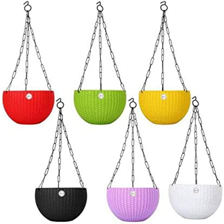 Abasr Plastic Flower Pot With Hanging Chain, Multicolour, Pot Diameter -7.1 Inch, Pot Height -4.8 Inch, Pot Thickness -3 mm, Chain Length -13 inch approx., 6 Pieces