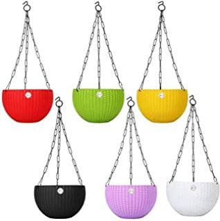 Abasr Hanging Baskets Rattan Waven Flower Pot Plant Pot with Hanging Chain for Houseplants Garden Balcony Decoration in Mu...