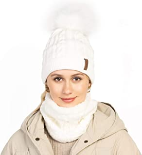 Winter Knit Beanie and Scarf Sets for Women - Warm Chunky Fleece Lined Infinity Scarf and Beanies with Pompom