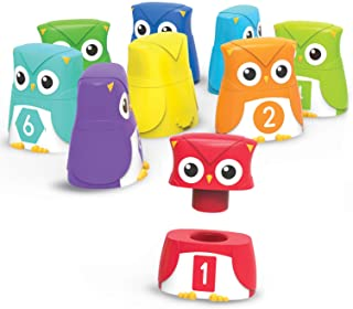 Learning Resources Snap-n-Learn Rainbow Color, Shape, Letter Owls, Alphabet Toy, 10 Pieces, Ages 2+
