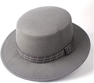 Pork Pie Hat Fedora Trilby Fashion Men Women Flat Top Fedora Hat Church Hat Wide Brim Trilby Jazz Hat Lady Fascinator Casual Wild Hat Size 56-58CM (Color : Gray, Size : 56-58)