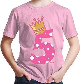 Hariz – Camiseta de princesa con corona para 5 cumpleaños, incluye tarjeta de regalo