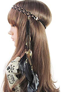 Song Qing Women Feather Leaf Tassels Braided Hippie Headband Hair Accessories
