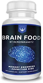 Brain Food by Remembrandtz - 2 Month Supply - Complete All-Natural Memory Improvement Formula, for Men and Women of All Ages