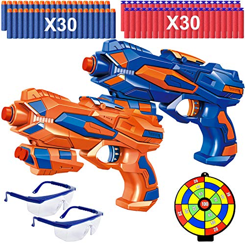 2 Pezzi Pistole Giocattolo per Bambini con 60 Freccette in Schiuma, 2 Occhiali Protettivi e Bersaglio, Pistole Blaster Regalo di Compleanno di Natale