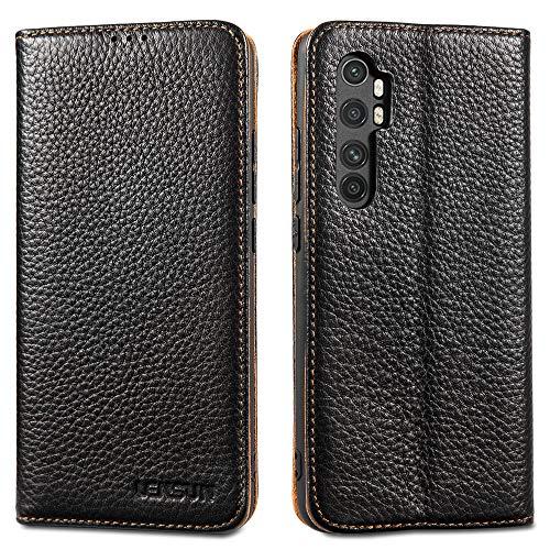 LENSUN Echtleder Hülle für Xiaomi Mi Note 10 Lite, Leder Handyhülle Magnetverschluss Kartenfach Handytasche kompatibel mit Xiaomi Mi Note 10 Lite(6,47 Zoll) – Schwarz(MN10L-DC-BK)
