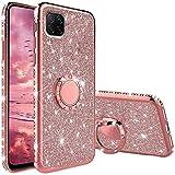 Compatibile con Cover Huawei P40 Lite, Glitter Strass Diamante Bling Diamanti Custodia con 360 Gradi Rotante Supporto Ring Kickstand Protezione Morbido Silicone TPU - Oro Rosa