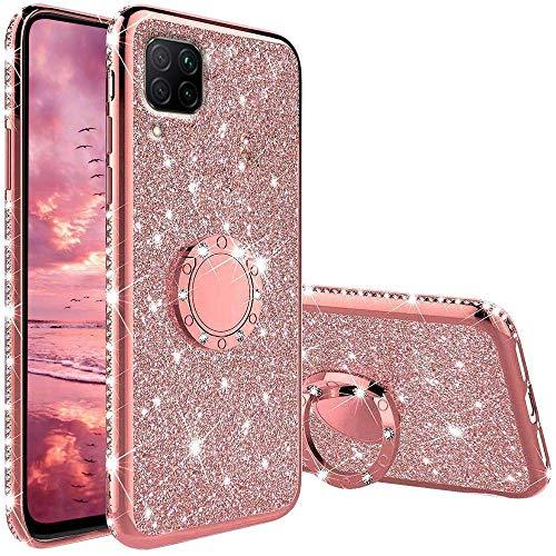Funda para Huawei P40 Lite, Glitter Brillante Diamante Carcasa Soporte Magnético de 360 Grados Anillo Giratorio Slim Suave Silicona Gel TPU Anti-Choques y Anti- Arañazos Protectora Carcasa - Oro Rosa