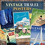 Vintage Travel Posters 2021 12 x 12 Inch Monthly Square Wall Calendar, Art Poster Railways Illustrations