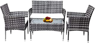 Outdoor Garden Furniture Sets 4 Piece PE Rattan Wicker Patio Set with Cushions & Side Table Mixed Grey
