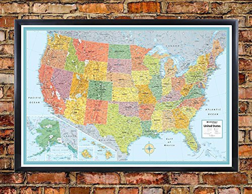 Swiftmaps 32x50 RMC United States USA Signature Push-Pin Travel Wall Map Foam Board Mounted or Framed (Black Framed)