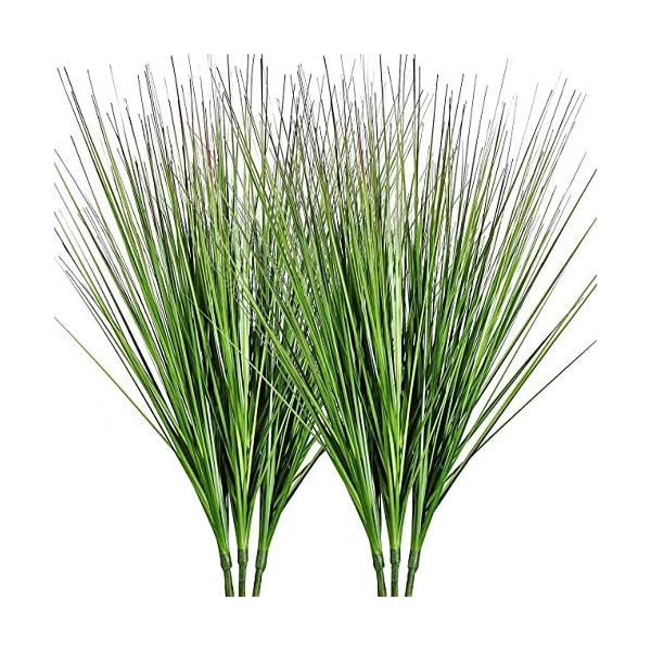 27″ Artificial Plants Onion Grass Greenery Faux Fake Shrubs Plant Flowers Wheat Grass for House Home Indoor Outdoor Office Room Gardening Indoor Décor 6 Pack
