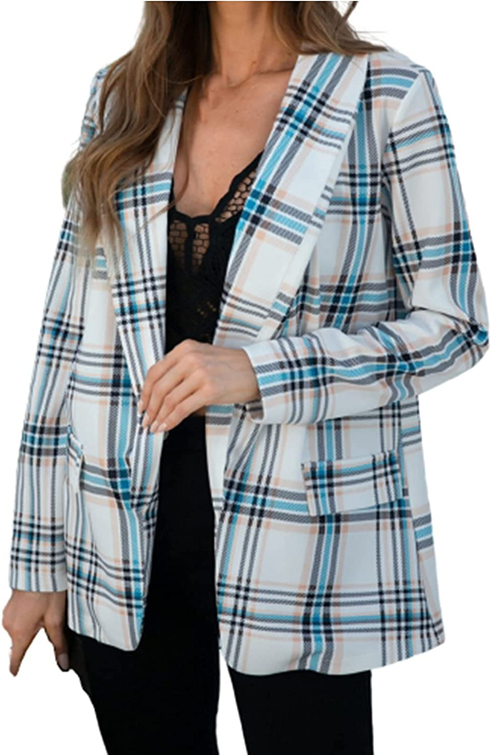 Women's Jackets Casual Fashion Autumn And Winter Street Long Sleeve Plaid Turn-down Collar Suit Coat
