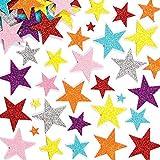 100pcs Autocollants Étoiles Pailletées colorées en Mousse,Autocollants en Mousse,Fleurs à Paillettes en...