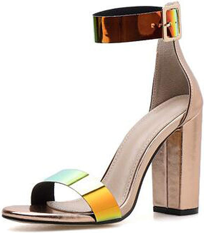 High Heels Peep Toe Iridescent Sandals Women's shoes Summer Pumps Womens shoes Buckle Strap Sandalias
