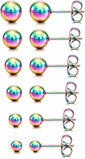 MOWOM Multicolor 2~10mm Stainless Steel Stud Earrings Ball Round Set (6~12 Pairs)