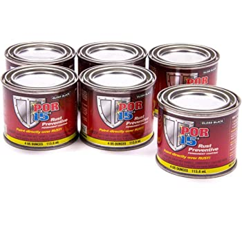 POR-15 45006-6PK Gloss Black Rust Preventive Coating - 4 fl. oz., (Pack of 6)