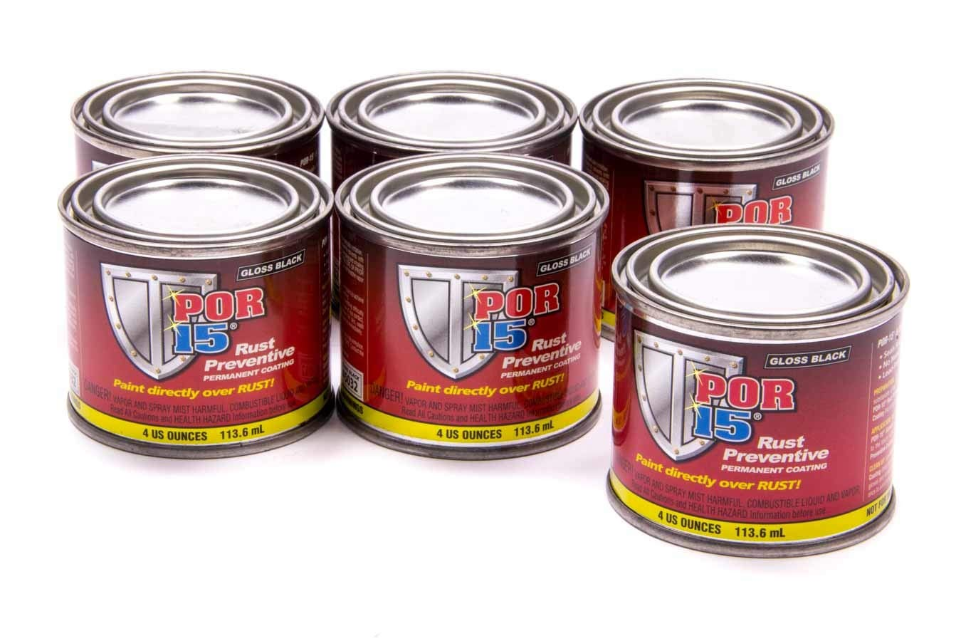 POR-15 Rust Preventive Coating - 6 Pack - Gloss Black   Stop Rust & Corrosion Permanently   Anti-Rust Protective Barrier