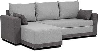 Confort24 Leah Sofá Cama 3 Plazas Chaise Longue Derecha o Izquierda Reversible Esquinero Dos Cojines Incluidos Tissu Salon Decoración de Hogar (Gris)